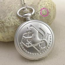 Fullmetal Alchemist Pocket Watch necklace women Cosplay Edward Elric with Chain Anime Boys Gift Silver Tone