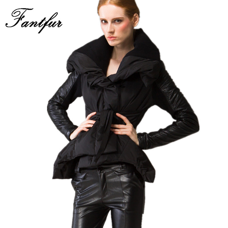 Фотография FANTFUR 2016 Winter White Duck Down Jacket Women Parkas Leather Patched Big Turn-Down Collar Black White Short Coat Large Size