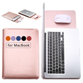 Fashion Solid Color Leather Sleeve For Apple macbook Air 11 12 PU Laptop Bag Cover For