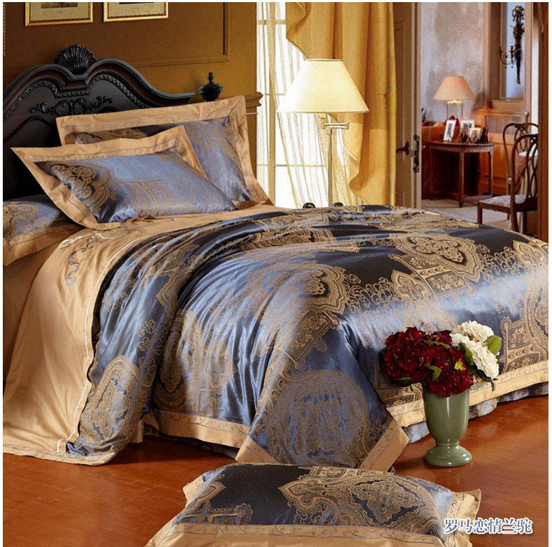 silk bedding set sky blue satin bed set tencel silk linens embroidered bed covers silk/cotton A/B side beding ruffles 5120(China (Mainland))