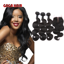 7A Brazilian Virgin Human Hair Weft With Closure Body Wave 3 Bundles Hair Weave Extensions With Lace Closure GaGa Hair Products(China (Mainland))