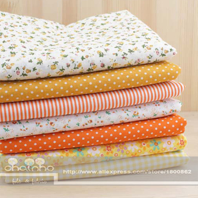 """7 design mixed """"yellow"""" 100% cotton cloth fat Quaters Tilda fabric quilted patchwork scrapbook cloth 50*50cm(China (Mainland))"""