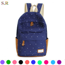 New 2015 Casual Canvas Backpack Women Fashion School Bags For Girls Dot Printing Backpack Shoulder Bags Mochila CB025(China (Mainland))