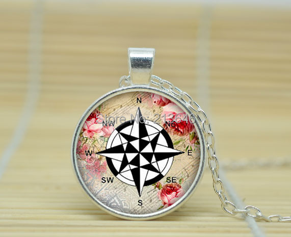 1PCS Compass Wind Rose pendant, Compass necklace charm Compass jewelry nautical jewellery Glass Cabochon Necklace A0021(China (Mainland))