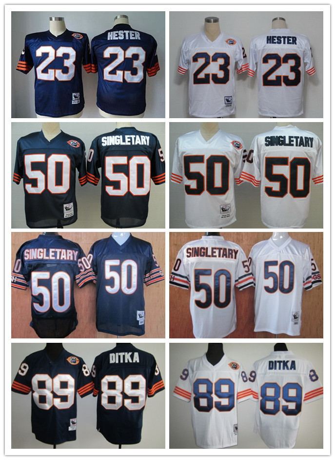 top quality men's 23 Devin Hester 50 Mike Singletary 89 Mike Ditka American throwback Football Jerseys stitched jersey(China (Mainland))