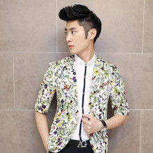 Mens Short Sleeve Blazer 2015 New Mens Floral Blazer Jacket Summer Printed Jacket Party Club Prom
