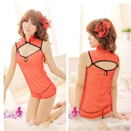 Free Shipping,Midnight charm new sexy lingerie, sexy cheongsam sexy suit the bride and red uniforms