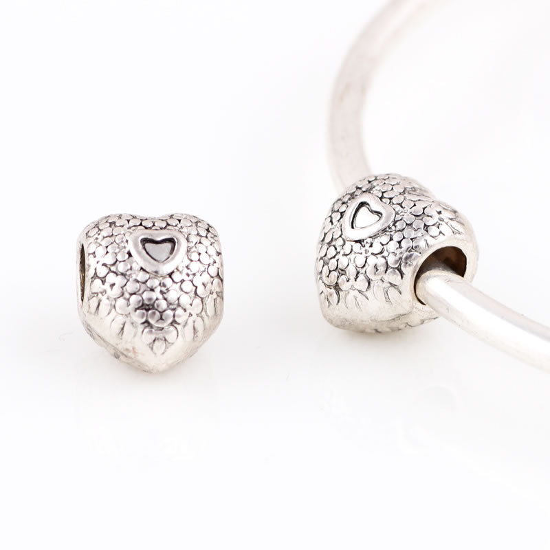 10pcs Silver Alloy Beads Heart Shape and small heart DIY Big Hole Metal Beads Spacer Murano Bead Charm Fit For charms Bracelet(China (Mainland))