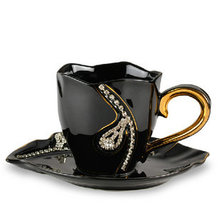 European Style Ceramic Coffee Cup and Dish Creative High Quality Coffee Set With Iron Standard