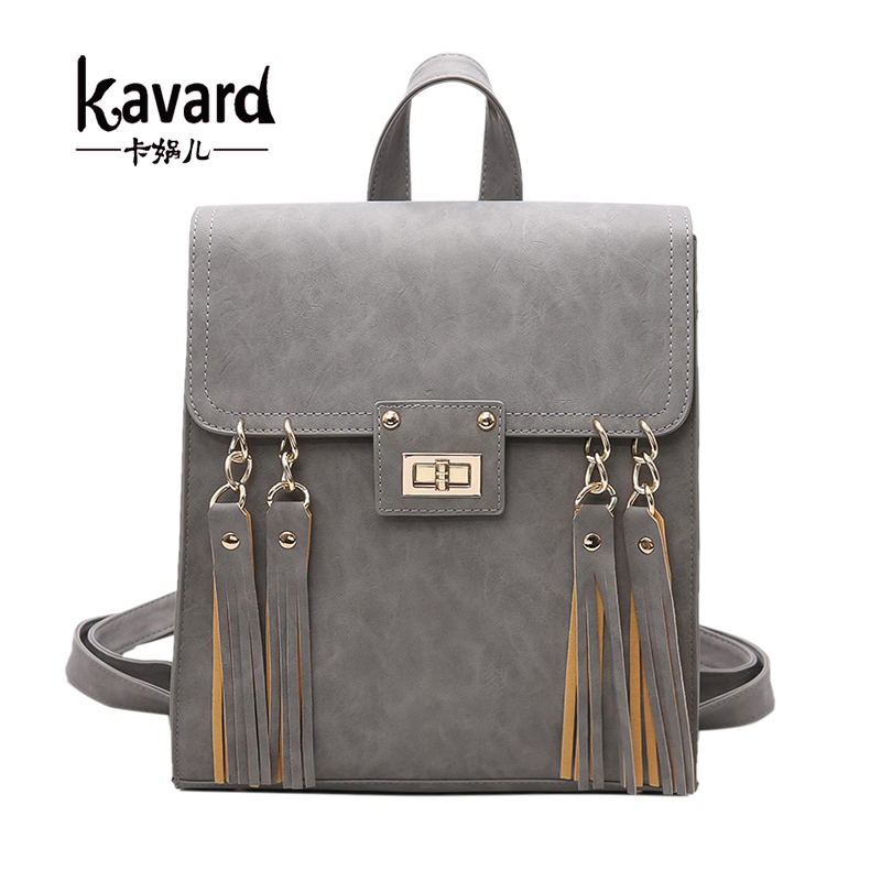 Kavard Tassel Women Backpack Gril School Bags for Teenagers High Quality Black Pu Leather Lady Backpacks mochilas mujer 2017(China (Mainland))