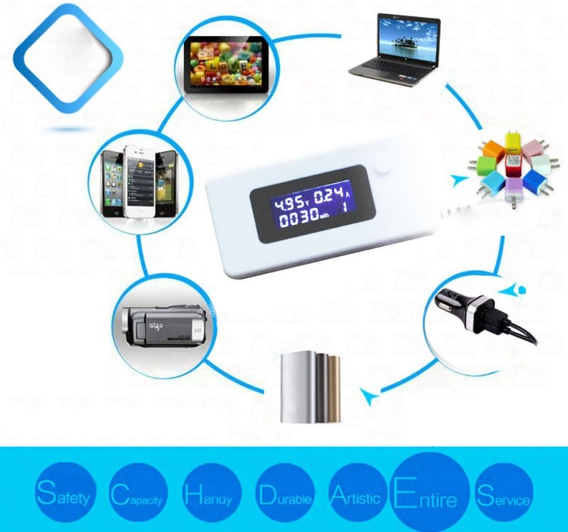 Mini Digital Display LCD USB Charger Capacity Current Voltage Tester Meter For Cell Phone Power Bank Show Clearly