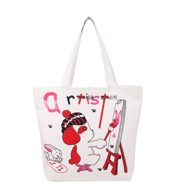 Promotional Shopping Bag Women Canvas Cartoon Letter Printing Cute Dog Dawing Handbag Totes Female Leisure Shoulder Bags - Queen Co., Ltd. store