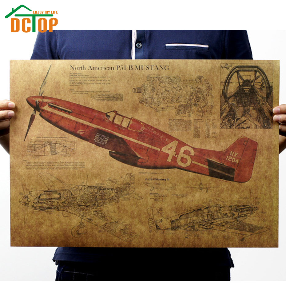Retro Vintage Fighter Air Plane Poster Living Room Kraft Paper Wall Decorative Stickers Creative Home Decor(China (Mainland))