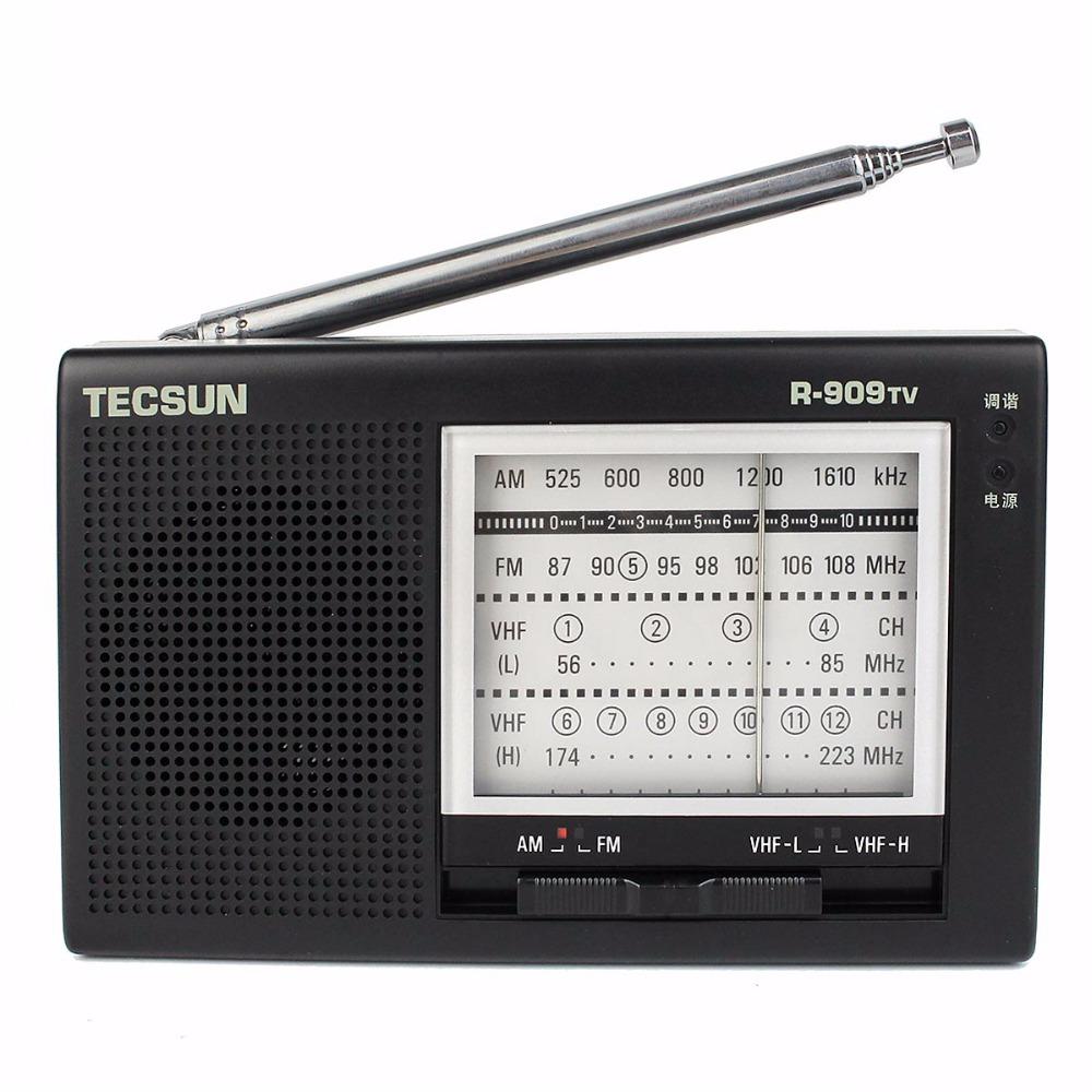 1 pc Portable TECSUN R-909TV FM / AM / VHF Broadcasting Radio Receiver 56-108MHz Black Radio FM Y4156A(China (Mainland))