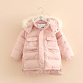 2016 Winter Clothing Girl S Thickening Cotton Padded Jacket Baby Design Long Wadded Jacket Fashion Sideopen