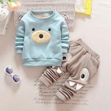 M&F Cartoon Children Boy Girl Clothing Set Winter Warm Velvet Boys Top+Pants 2pc Suit Long Sleeve Spring Baby Clothes Set(China (Mainland))