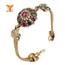 Turkey Bracelet For Women Tibetan Silver Alloy Agate Red Resin Plating 18K Gold Bangle Retro Bohemian Roman Royal Jewelry(China (Mainland))
