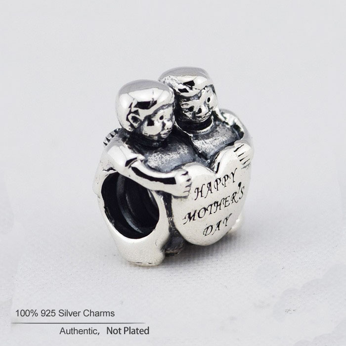 2015 Happy Mother's Day Gift Children Heart Beads 100% 925-sterling-silver Charm DIY Jewelry Fits European Style Charms Bracelet(China (Mainland))