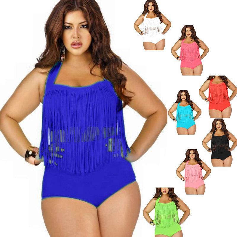 2015 Brand New Nylon Solid Sexy Plus Size Swimwear Female ...