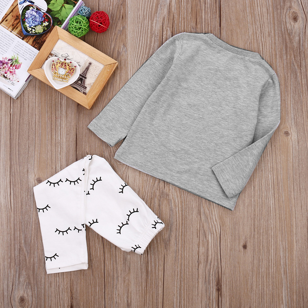 Fashion Newborn Infant Girls Cartoon Eyes Outfits Tops Gray T-shirt + Cotton Pants Kids Clothes Sets