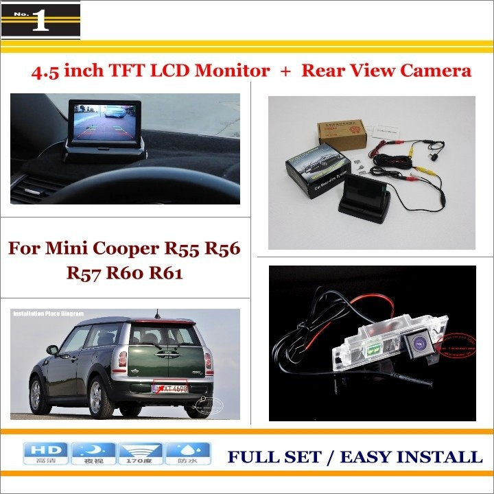 "Car Reverse Backup Rear Camera + 4.3"" LCD Screen Monitor = 2 in 1 Rearview Parking System - For Mini Cooper R55 R56 R57 R60 R61"