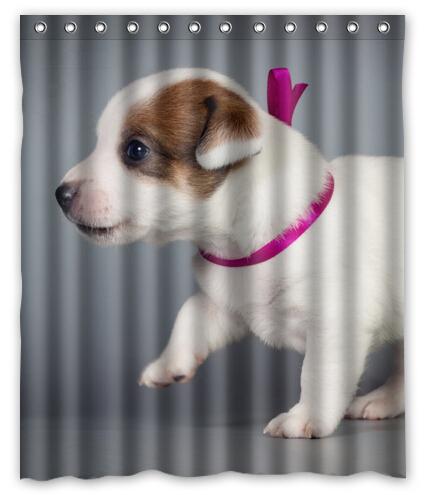 Chiens jack russell terrier chiot animaux imprim polyester rideau de douche 60 x 72 polegada - Store imprime photo ...