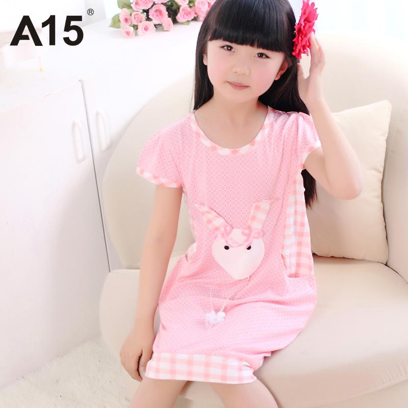 A15 Brand Summer Children Nightgown Cotton Modal Girls Dress Sleepwear Pajamas Kids Short Sleeve Pijama 3T 6 7 11 12 13 14 Years(China (Mainland))