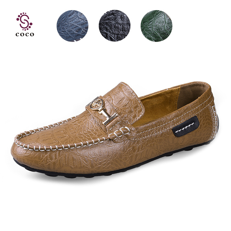 2015 Fashion Style genuine leather men flats shoes Casual Crocodile leather Loafers men shoes High Quality moccasins shoes(China (Mainland))