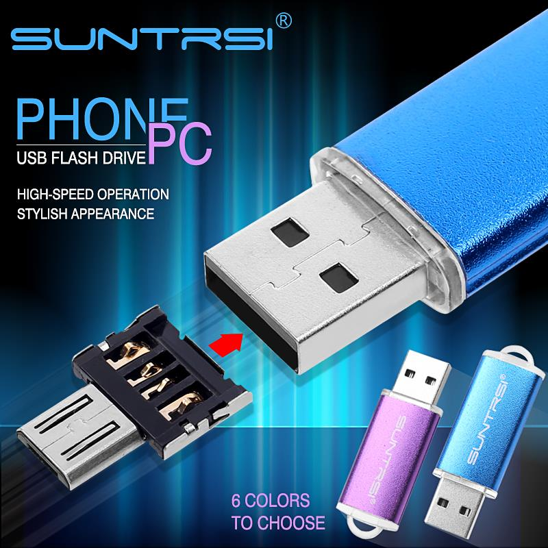 Suntrsi USB Flash Drive OTG Adapter Metal Pendrive for Smart Phone Android Pen Drive Turn into Phone USB Stick External Storage<br><br>Aliexpress