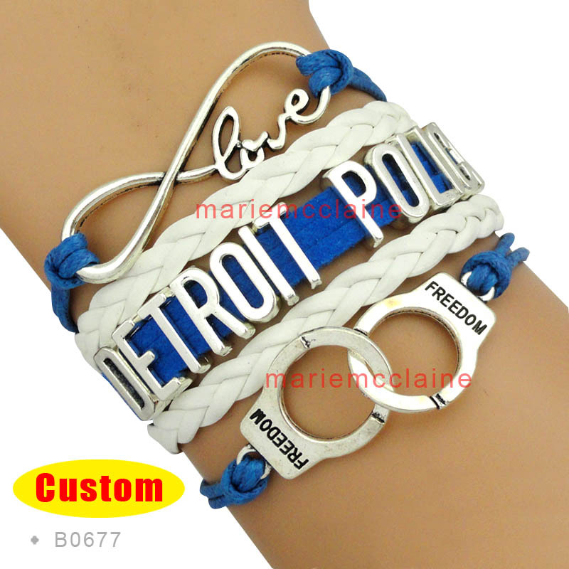 (10 Pieces/Lot) Infinity Love Detroit Police Handcuffs Bracelet Blue Black White - Custom Any Themes and Styles - Drop Shipping(China (Mainland))