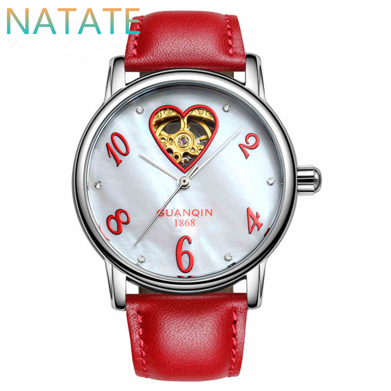 NATATE Women GUANQIN Fashion Tourbillon Mechanical Watches Waterproof Sapphire Mirror Leather Strap Lady Business Watches 0840<br><br>Aliexpress
