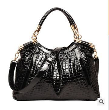 2015 Europe United leather shiny portable handbag crocodile grain women messenger handbags Single shoulder bag - Guangzhou Liang Lin Trade Co., Ltd. store