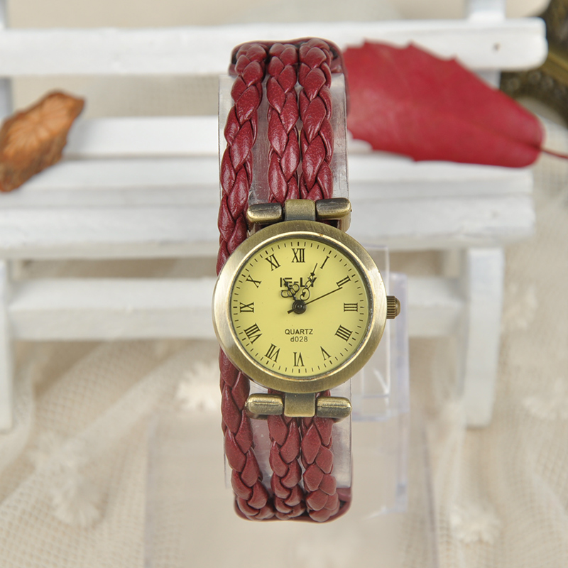 Luxury Women Watches Leather Vintage Antique Womens Bracelet Handmade Weave Decoration Watch 6 Colors(China (Mainland))