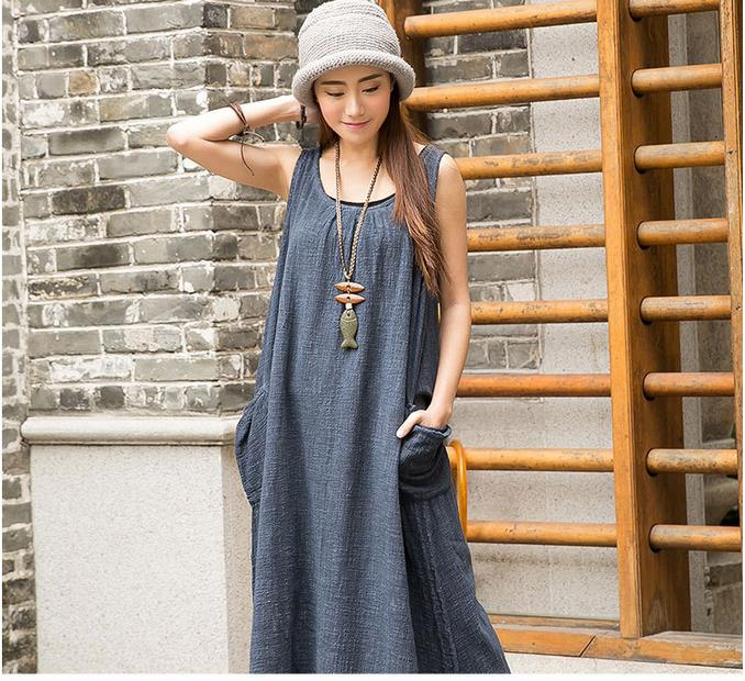 2015 Summer New Women Sundress Literary Cotton Linen Solid Color Sleeveless Round Neck Vest Loose Plus Size Casusl Maxi Dress(China (Mainland))