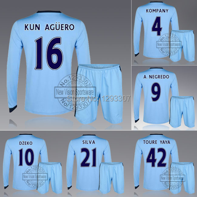 2014 15 Full Long Sleeve City Home Kun Aguro Dzeko Silva Toure Yaya Football Jersey Kit Men Fall Outfits Soccer Shirt Uniforms(China (Mainland))