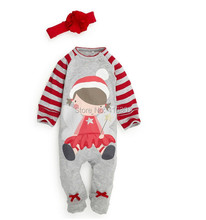 New Arrival Christmas Design Stripe  Baby Jumpsuits For Infant Unisex Baby Wear Cute X-Mas Style Hat Baby Clothes For New Winter(China (Mainland))