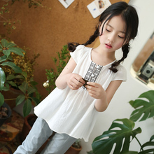 Buy Summer T Shirt Girls 4 5 6 7 8 9 10 11 12 13 Years Toddler Girls Clothing White Casual T-shirt Kids School Uniform for $16.83 in AliExpress store