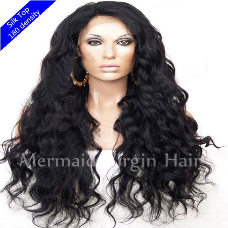 Silk top full lace wig 180 density brazilian virgin glueless full silk
