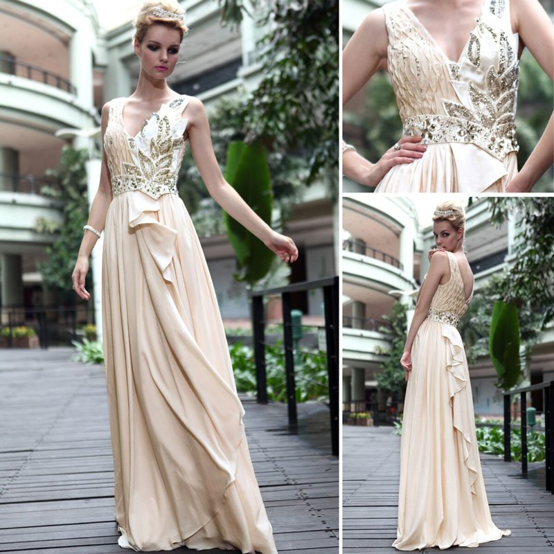Free shipping latest sheath tencel chiffon v neck side for Sheath wedding dress with beading and side drape