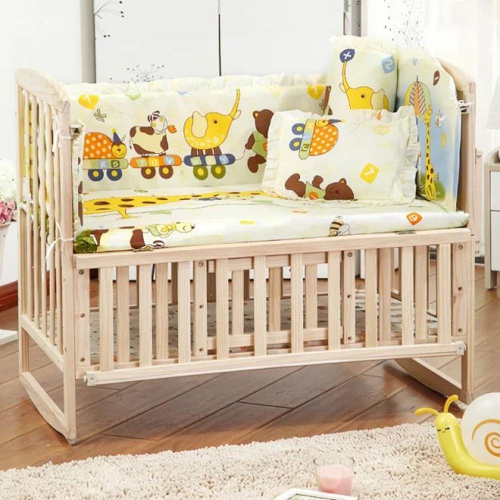OUTAD Ins crib bed 5PCS/set Cotton Crib Bedding Set For 100*58cm/110*60cm Comfortable Crib Bumper Baby Bedding Set(China (Mainland))