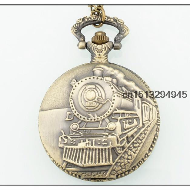 Bronze Train Front Locomotive Engine Necklace Pendant Quartz Pocket Watch P107(China (Mainland))