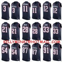 100% Stitiched,New England Patriots,Tom Brady,Rob Gronkowski,Julian Edelman,Jamie Collins,Danny Amendola,Limited Tank Top(China (Mainland))