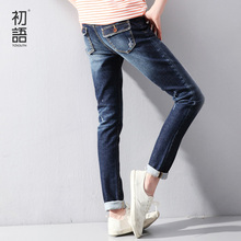Toyouth Spring New Women Jeans Slim Elastic Straight Trousers Ladies Fashion Full Length Casual Jeans(China (Mainland))