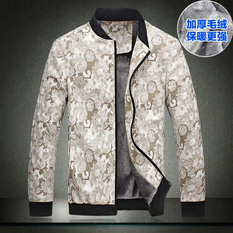 2014 autumn and winter plus velvet thickening male jacket fashion print casual outerwear plus size men