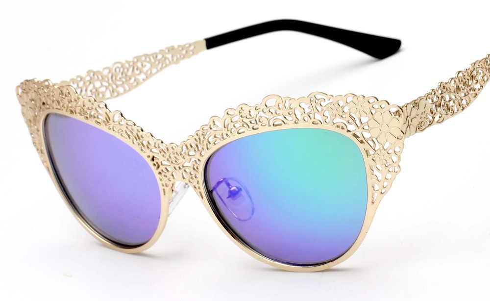 New luxury Queen BAROQUE style retro hollow metal all noble relief OCULOS de sol women Cat eye sunglasses(China (Mainland))