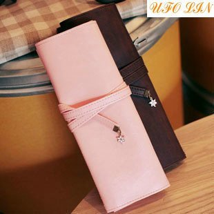 F30-099 Wholesale/Steam Three Fold Tie PU Leather Pencil Case/pencil Bag/pen Pocket/Cosmetic Bag/coin bag/Pouch/super Gift