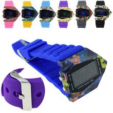 Fabulous impermeable de los deportes de la aptitud Dazzle Colour militar Stealth Fighter luz LED hombres reloj de pulsera