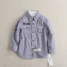 2016 new foreign trade children's fashion striped cotton shirt European casual style Specials free shipping