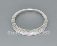 Romantic 14Kt Solid White Gold Wedding Band Ring R00320(China (Mainland))