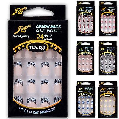 Acrylic Designer Nail tips False French Nails Full 24pcs Airbrush Ongles(China (Mainland))